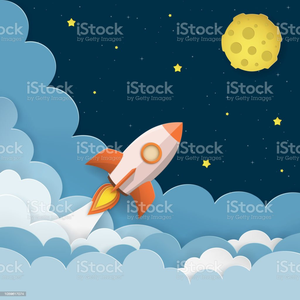 rocket launch to the moon cute space background with stars moon