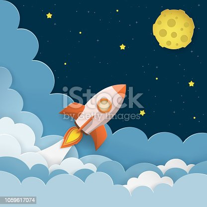 istock Rocket launch to the Moon. Cute space background with stars, moon, rocket, clouds, smoke. Night sky background with flying rocket. Paper cut craft style. Vector Illustration. 1059617074