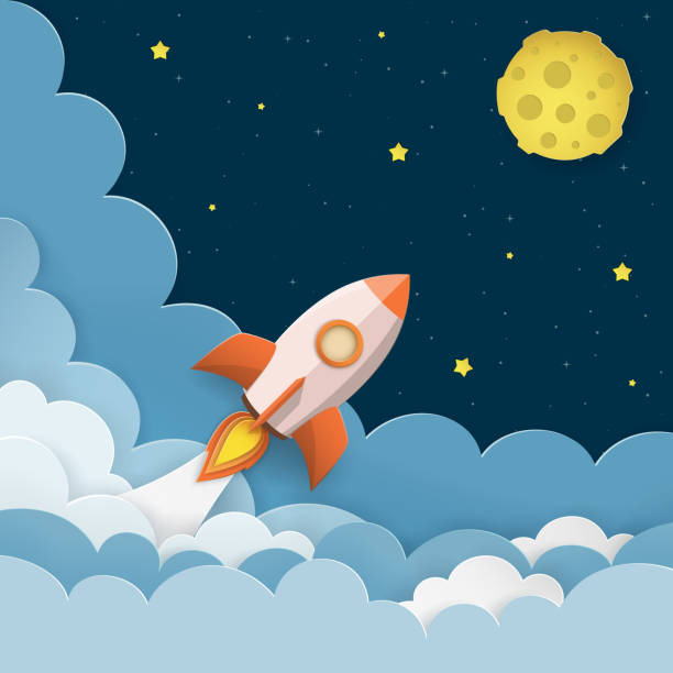 rocket launch to the moon. cute space background with stars, moon, rocket, clouds, smoke. night sky background with flying rocket. paper cut craft style. vector illustration. - miejsce na tekst stock illustrations