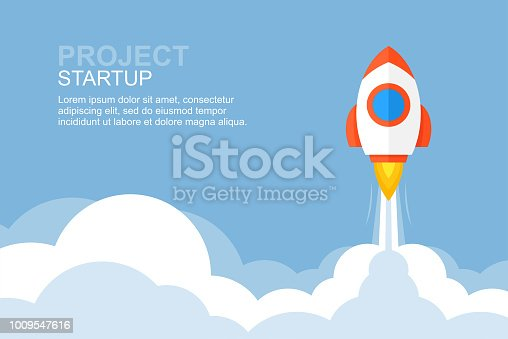 Rocket launch. Business startup banner. flat style. isolated on blue background