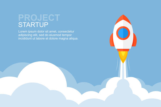Rocket launch Rocket launch. Business startup banner. flat style. isolated on blue background rocket stock illustrations