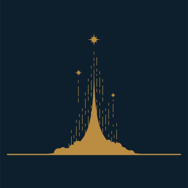 ilustrações, clipart, desenhos animados e ícones de lançamento de foguete conceito da ilustração do vetor com poeira e estrelas da nuvem. - foguete espacial