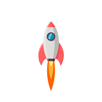 Rocket launch. Vector illustration isolated on white