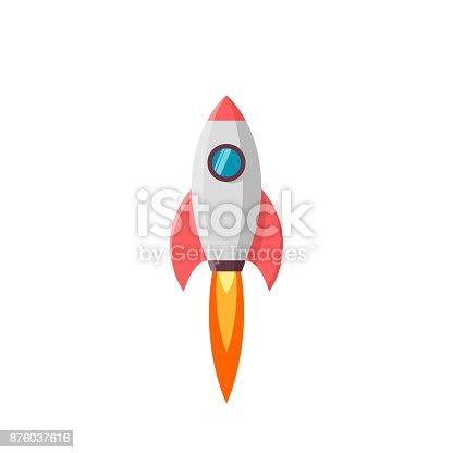 istock Rocket launch. Vector illustration isolated on white 876037616