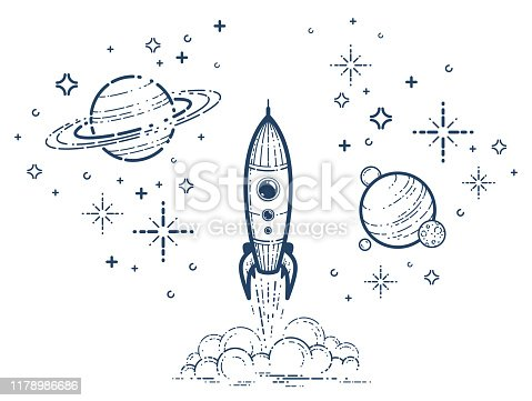 Rocket launch vector simple linear icon, missile start up business line art illustration, space technology and science, science fiction literature sign.