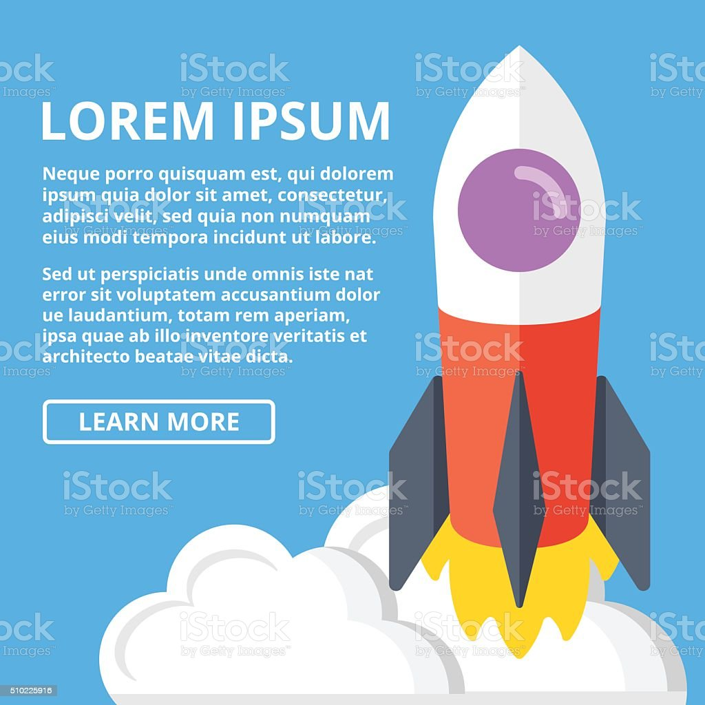 Ilustración de Cohete Lanzamiento Web Bandera Plantilla Científico ...