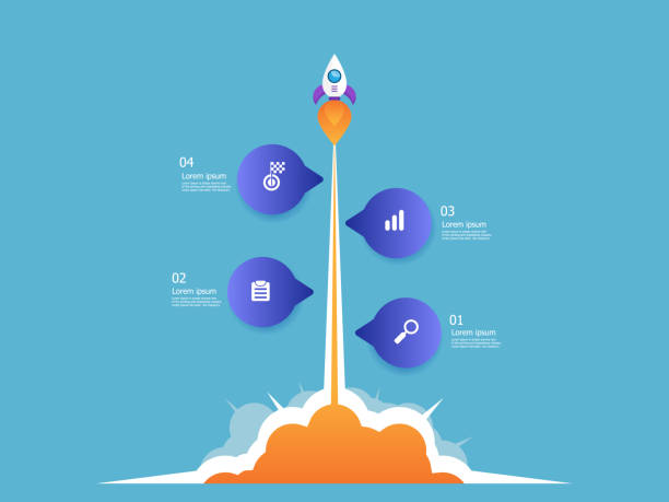 rocket launcher business startup vector art illustration