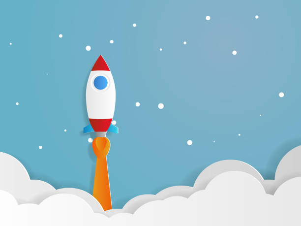 rocket launcher startup business concept - abstract of paper spaceship launch to space stock illustrations, clip art, cartoons, & icons
