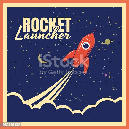Rocket launcher startup rocket retro poster with vintage colors and grunge effect. Vector, illustration