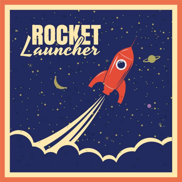 ilustrações de stock, clip art, desenhos animados e ícones de rocket launcher startup rocket retro poster with vintage colors and grunge effect. vector, illustration, isolated - viagens anos 70