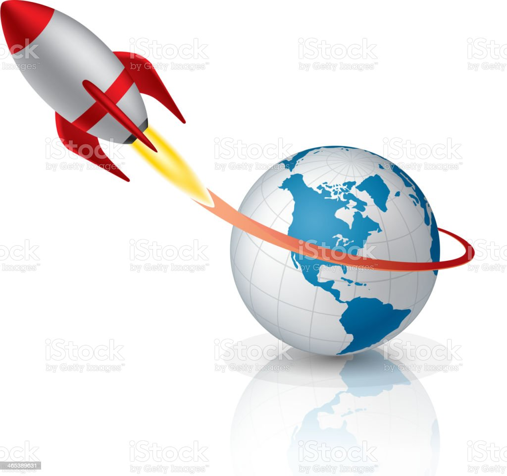 Rocket launching vector art illustration