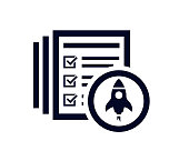 Startup lauch rocket with document list with tick checkmarks vector illustration.