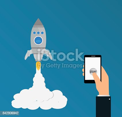 istock rocket launch.Project start up and development 542306942