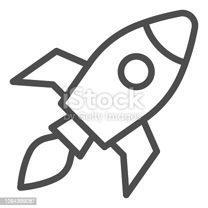 istock Rocket line icon, Coworking concept, Start up business sign on white background, Rocket launch icon in outline style for mobile concept and web design. Vector graphics. 1264399287