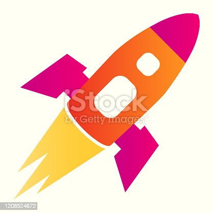 Rocket line icon. Spacecraft flies in atmosphere, successful launch. Astronomy vector design concept, outline style pictogram on white background, use for web and app. Eps 10