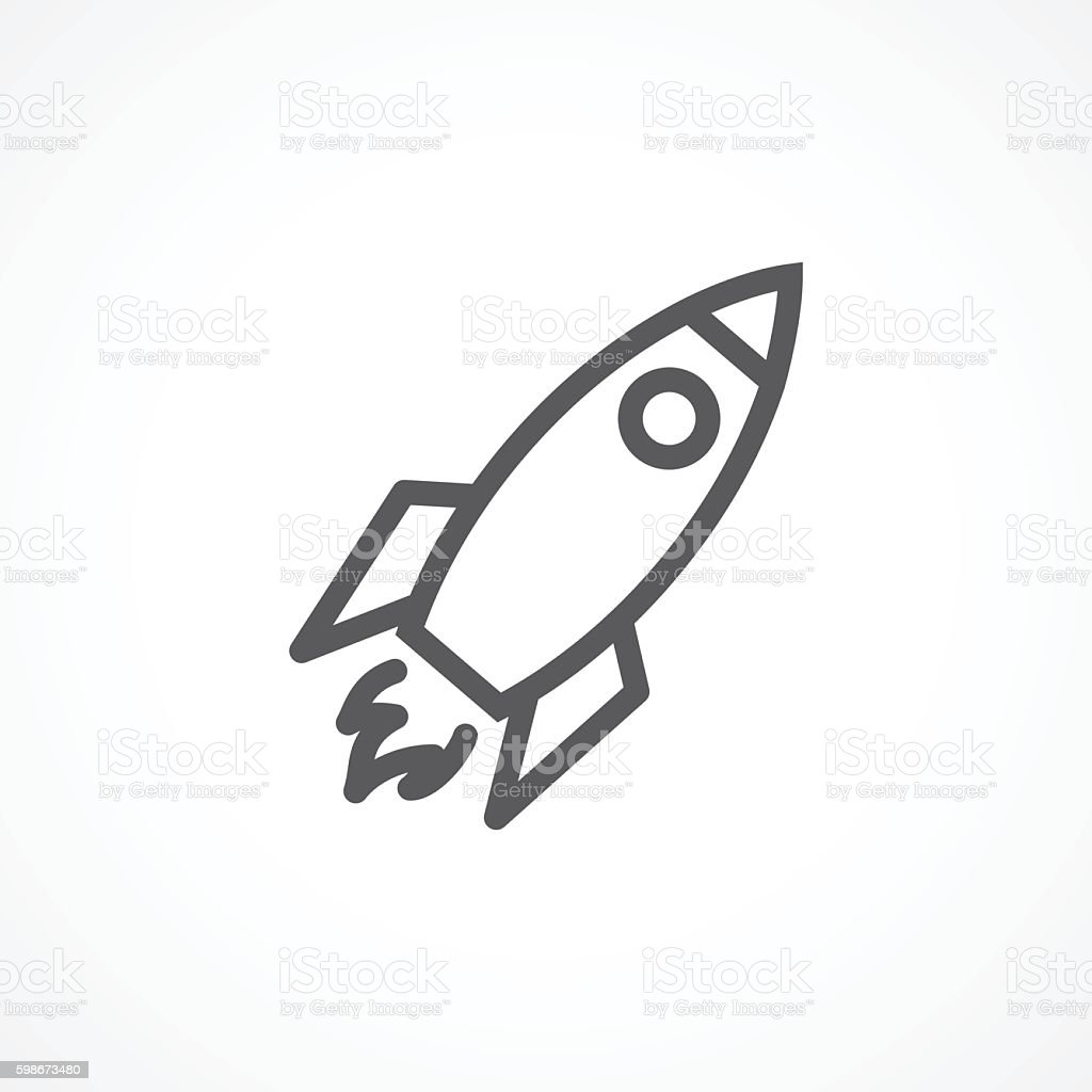 Rocket line icon vector art illustration