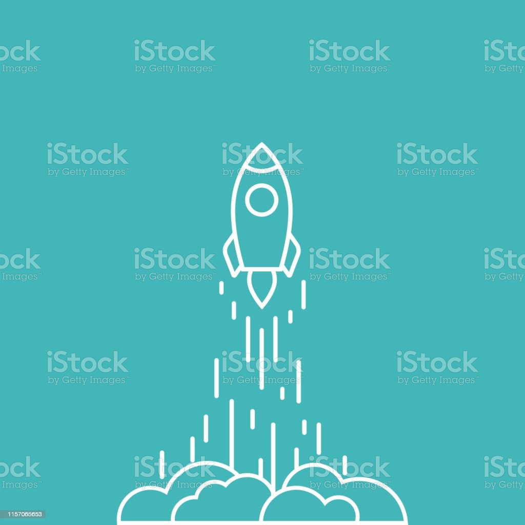 Rocket line ship with fire and clouds. Isolated on blue background....