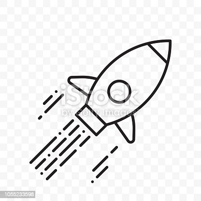 Rocket logo for startup project. Vector thin line flying rocket icon for start up business launch