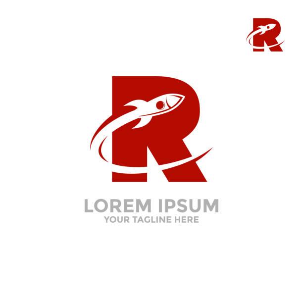 rakete-logo. in den buchstaben fliegt r eine rakete. - rakete stock-grafiken, -clipart, -cartoons und -symbole