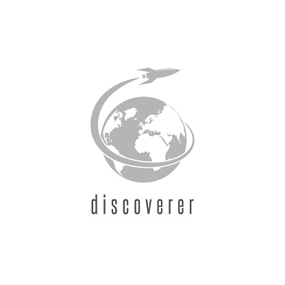 Rocket logo world discovery space shuttle spaceship, International Day Human Space Flight emblem
