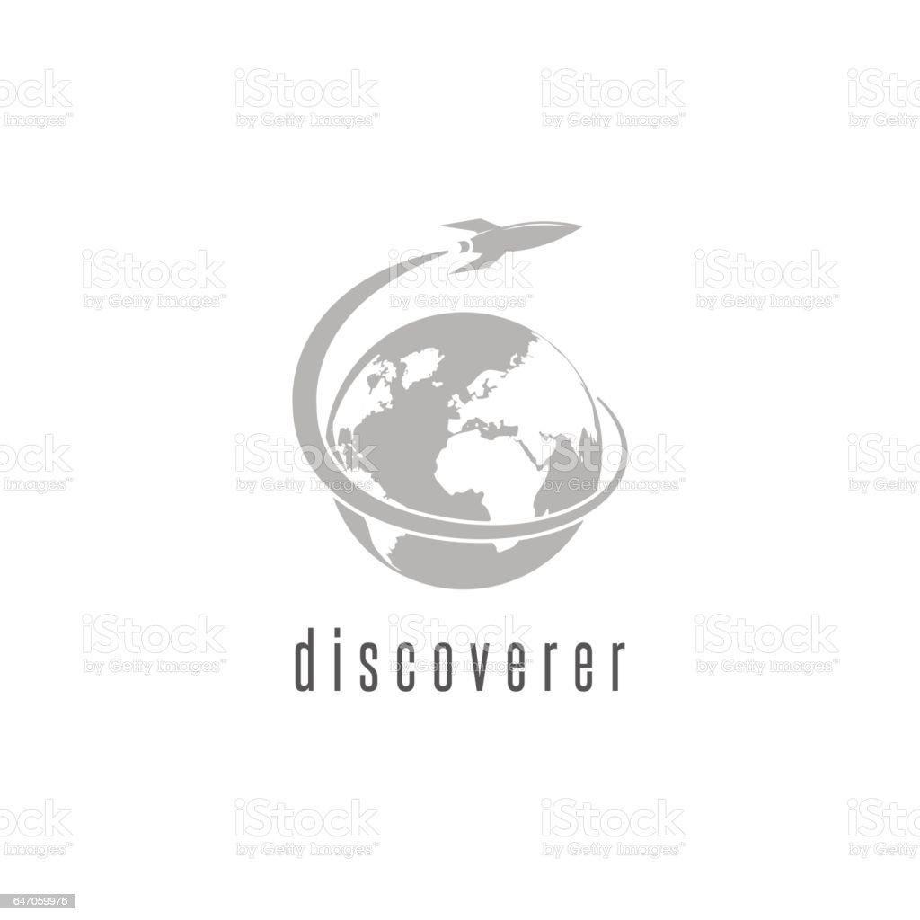 Rocket logo world discovery space shuttle spaceship, International Day Human Space Flight emblem vector art illustration