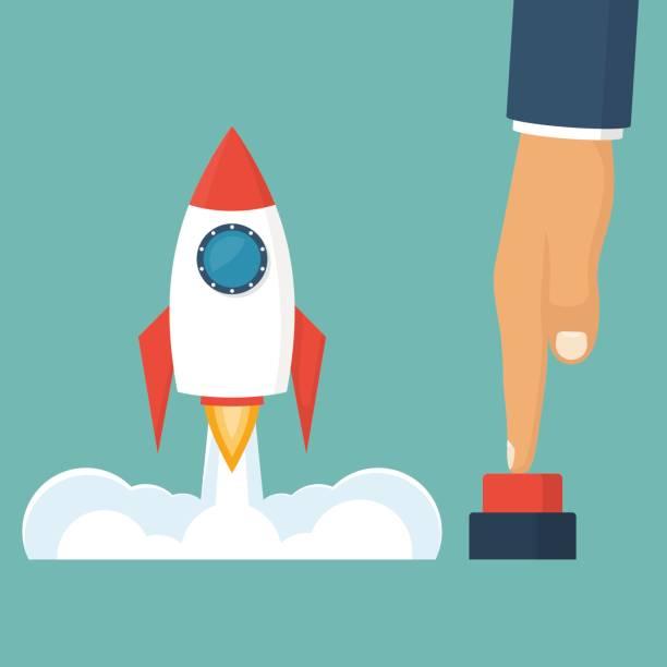 illustrations, cliparts, dessins animés et icônes de fusée de lancement métaphore de business - décoller activité
