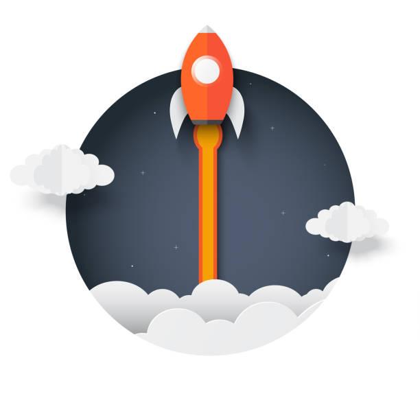 Cohete fuera de la caja. lanzadera espacial al cielo expulsado del círculo. concepto de negocio de startups. Creativo. cohete icono. arte de papel de ilustración vectorial. - ilustración de arte vectorial