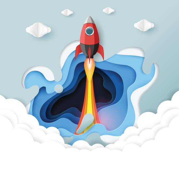 rocket paper art with abstract background. - abstract of paper spaceship launch to space stock illustrations, clip art, cartoons, & icons