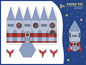 Rocket paper cut toy. Missile 3d paper model, create toys spaceship kids educational game. Preschool children gaming puzzle worksheet, craft page cartoon vector flat isolated illustration
