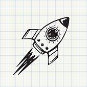 Rocket ship doodle icon