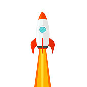 Rocket ship flying isolated on white background vector illustration, flat cartoon design of rocketship launch, missile flight clipart