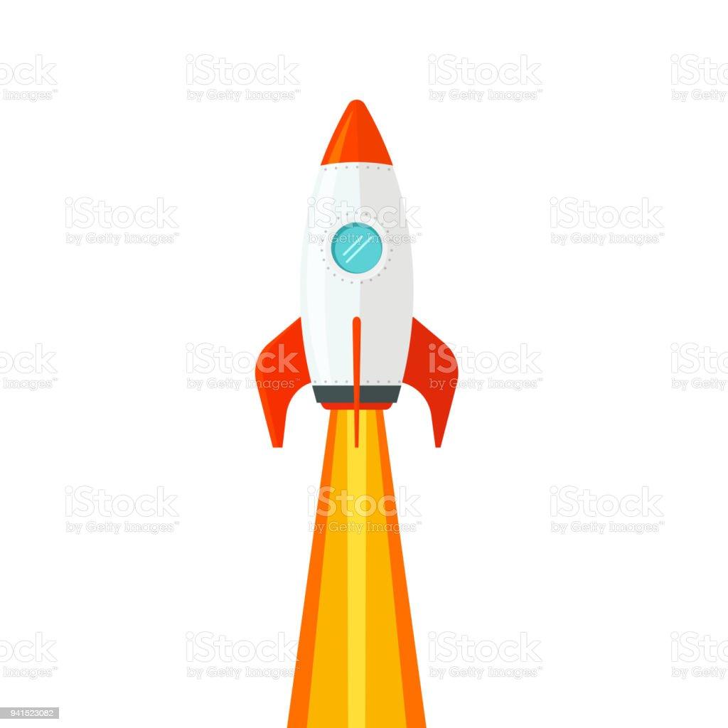 Raumschiff fliegen isoliert auf weißem Hintergrund-Vektor-Illustration, flache Cartoon-Design Rocketship Start, Raketen Flug clipart – Vektorgrafik
