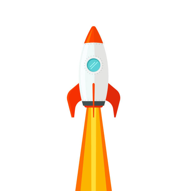 Rocket ship flying isolated on white background vector illustration, flat cartoon design of rocketship launch, missile flight clipart Rocket ship flying isolated on white background vector illustration, flat cartoon design of rocketship launch, missile flight rocket stock illustrations