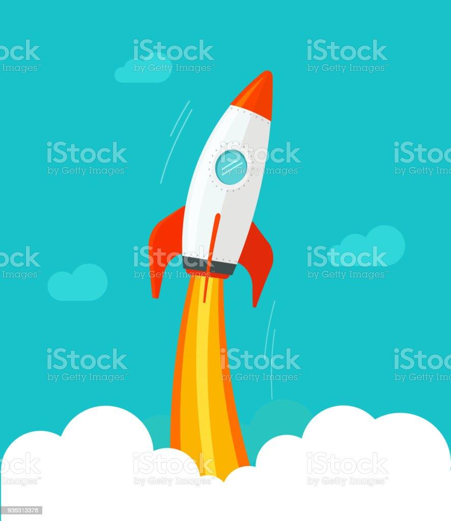 Raumschiff fliegen Vektor-Illustration, flache Cartoon Comic-Design oder Rocketship Start, Flug der Rakete in den Himmel-clipart – Vektorgrafik