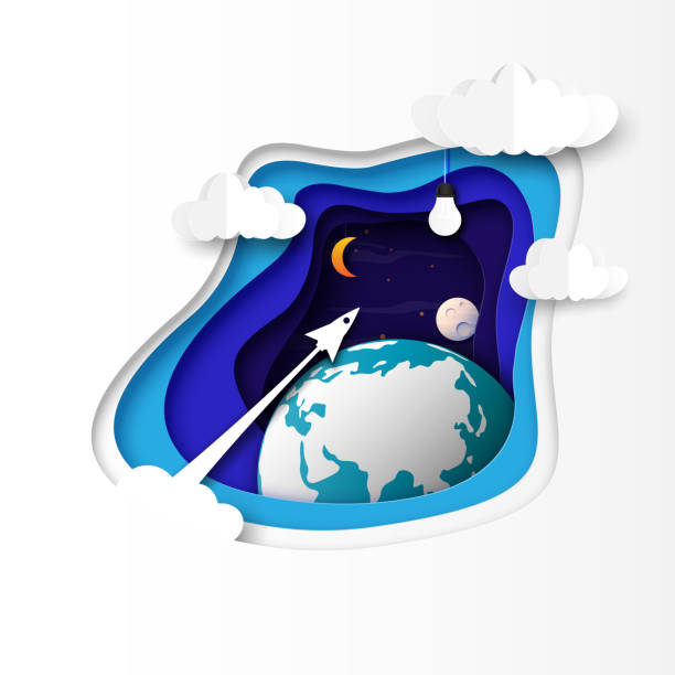 rocket ship icon flying to light bulb on night sky paper art abstract background. - abstract of paper spaceship launch to space stock illustrations, clip art, cartoons, & icons