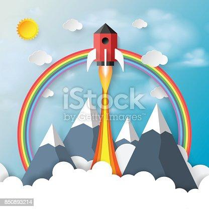 istock Rocket ship icon paper art style 850893214