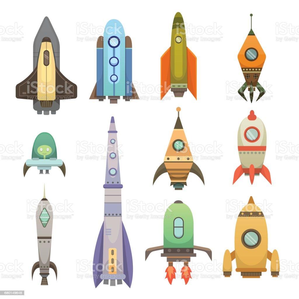 漫画のスタイルのロケット船新しい企業革新開発フラット デザイン