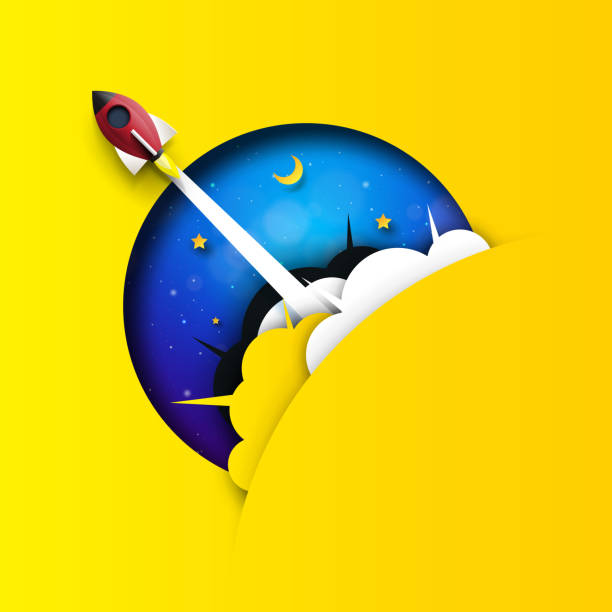 rocket ship launch and space background. - abstract of paper spaceship launch to space stock illustrations, clip art, cartoons, & icons