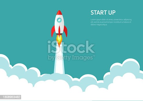 istock Rocket ship launch background. Start Up concept vector. 1308953462