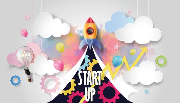 rocket ship launch, business elements on watercolor background, business startup concept, paper cut design style, vector illustration. - abstract of paper spaceship launch to space stock illustrations, clip art, cartoons, & icons