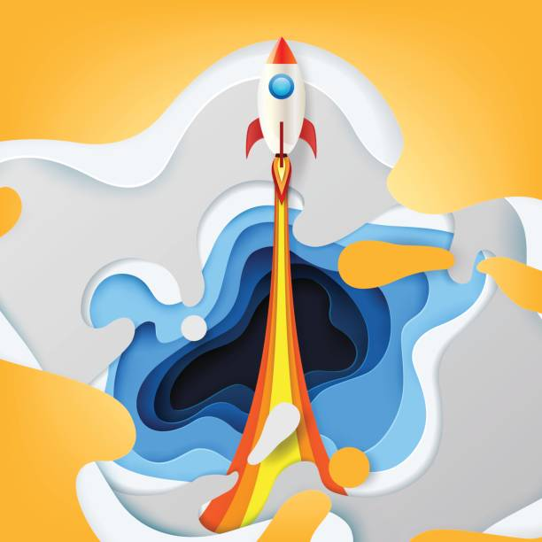 rocket ship launch business startup - abstract of paper spaceship launch to space stock illustrations, clip art, cartoons, & icons