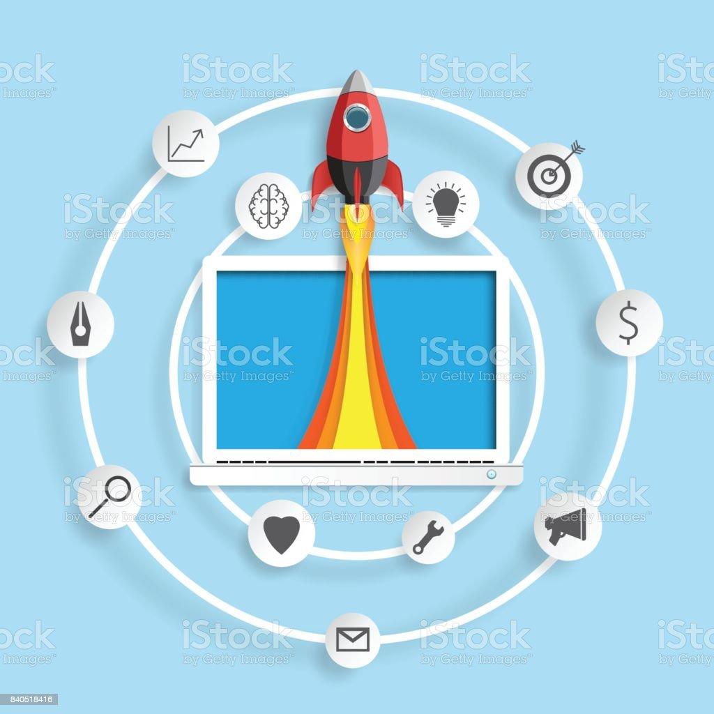 rocket ship paper art from laptop stock vector art 840518416 istock