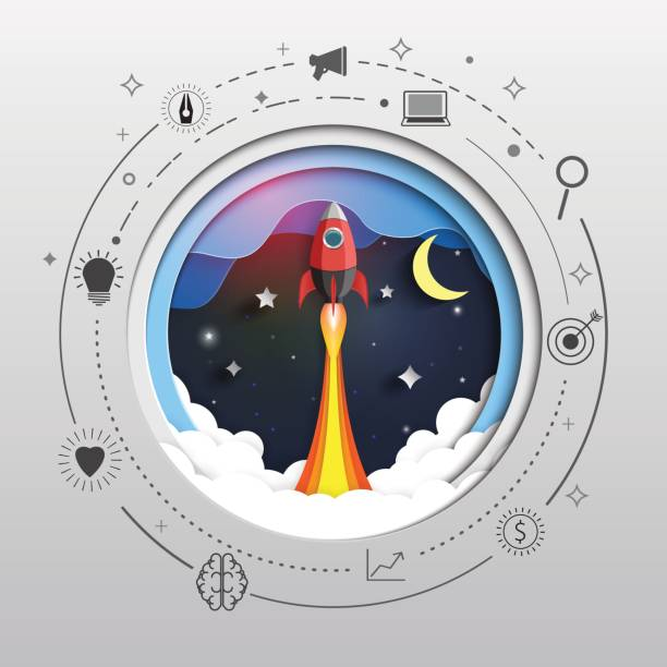 rocket ship to space paper art style design. - abstract of paper spaceship launch to space stock illustrations, clip art, cartoons, & icons