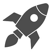 istock Rocket solid icon, Coworking concept, Start up business sign on white background, Rocket launch icon in glyph style for mobile concept and web design. Vector graphics. 1264394625