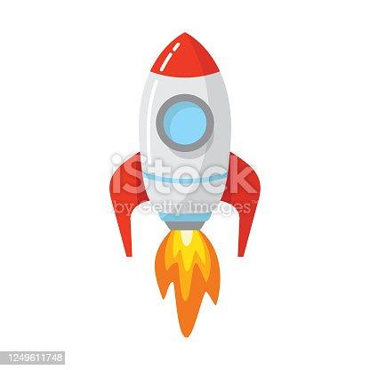 Cartoon rocket space ship. Spaceship icon