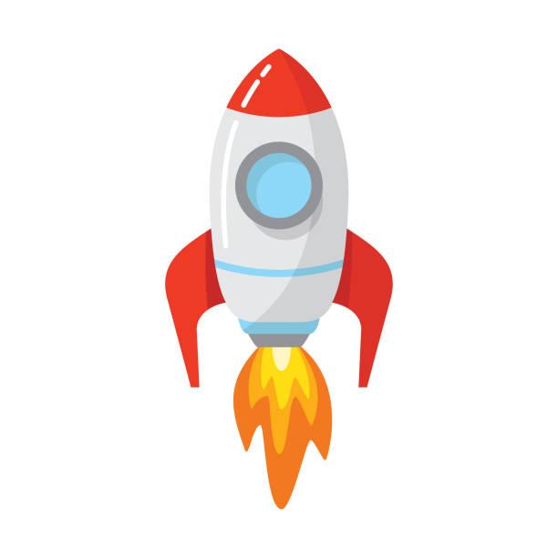 raketen-raumschiff-start - rakete stock-grafiken, -clipart, -cartoons und -symbole