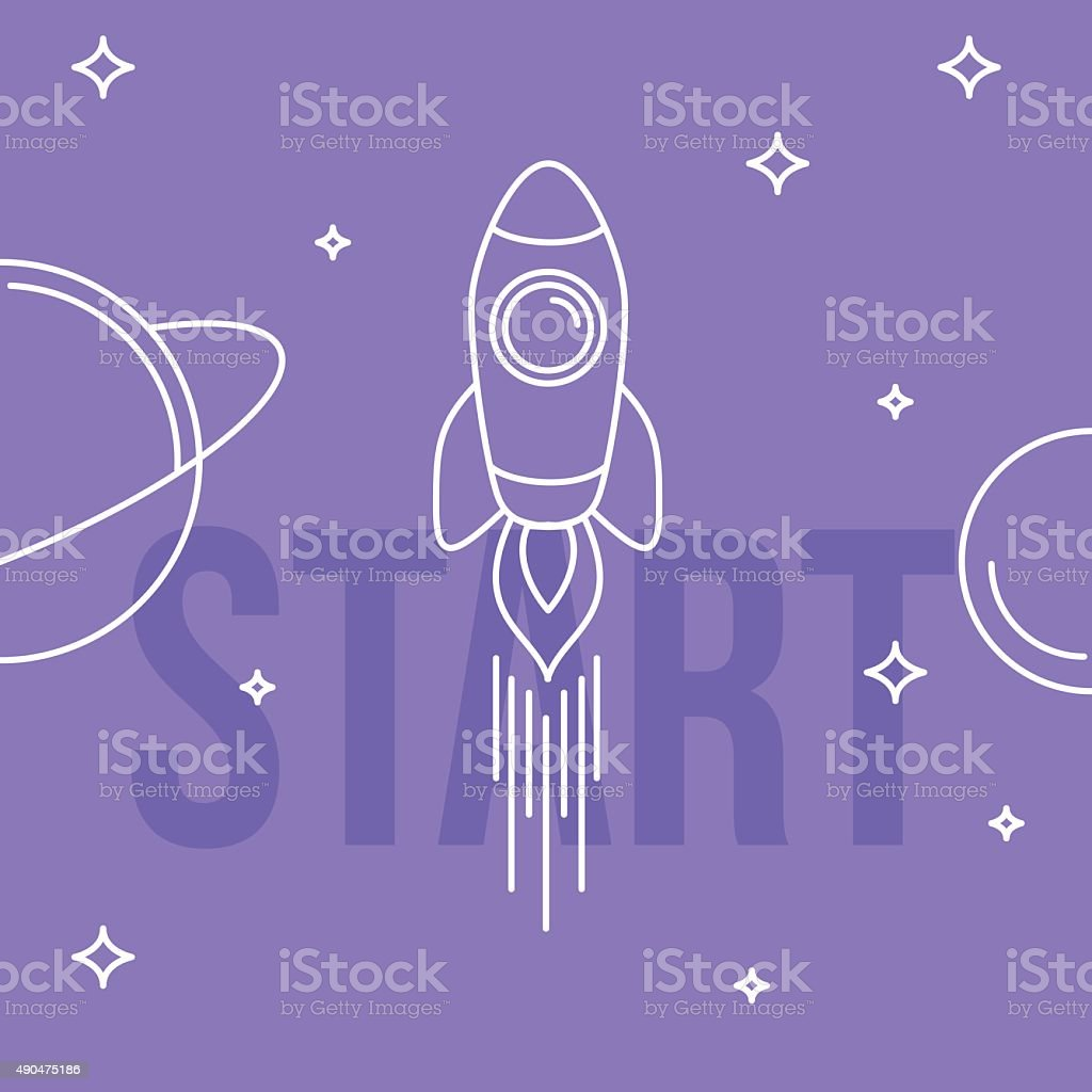 Rocket space vector illustration. Linear design. Start up concep vector art illustration