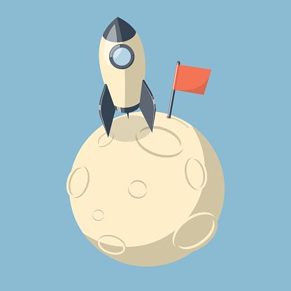 3D Rocket spaceship landed on moon.