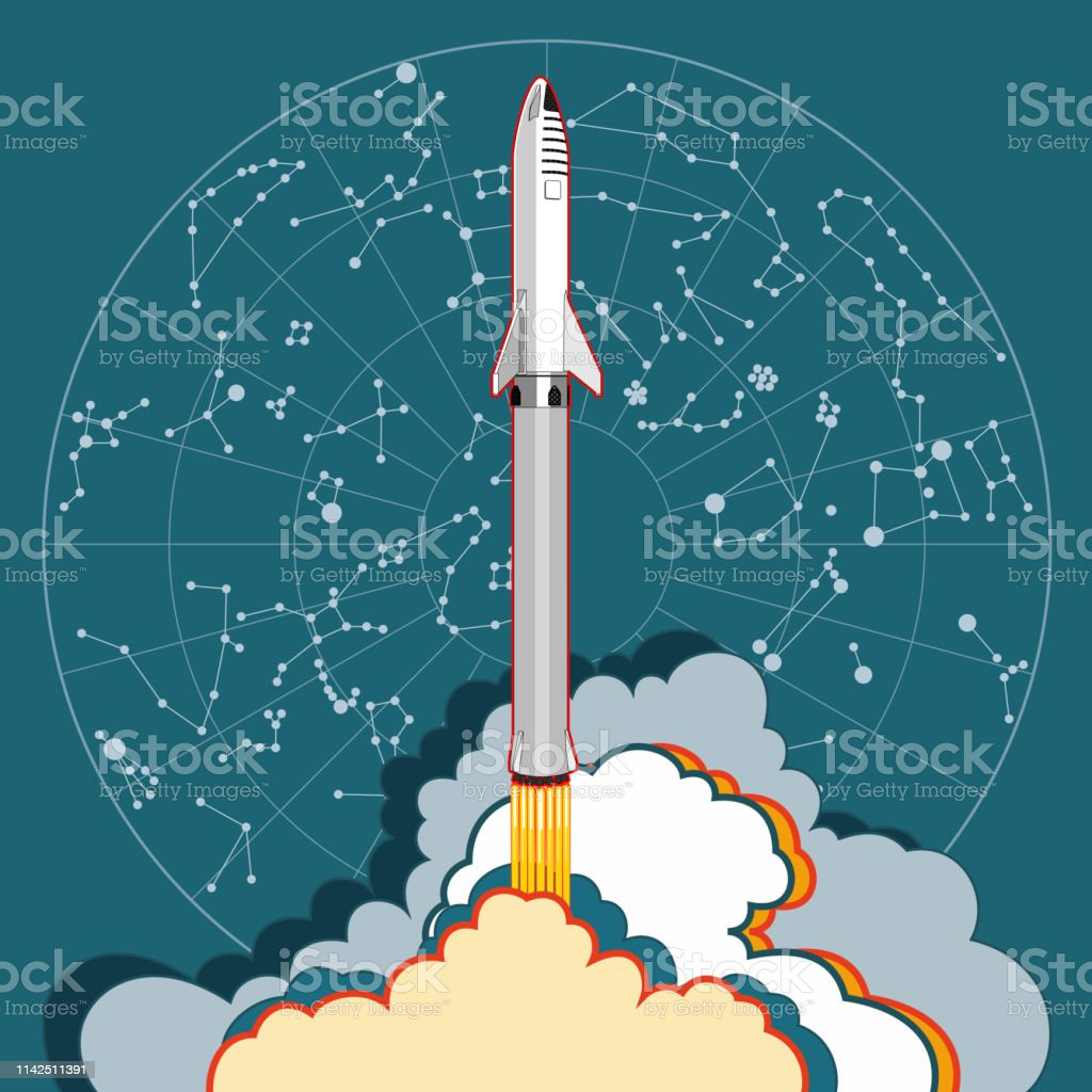 Rocket spaceship launching and star map. Vector retro style...