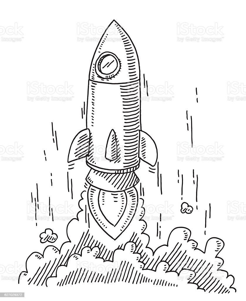 Rocket Start Drawing vector art illustration